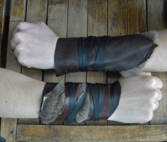 Leather Fur Cuffs - Warrior Viking Tribal Larp Costume Cosplay - Pair #17b
