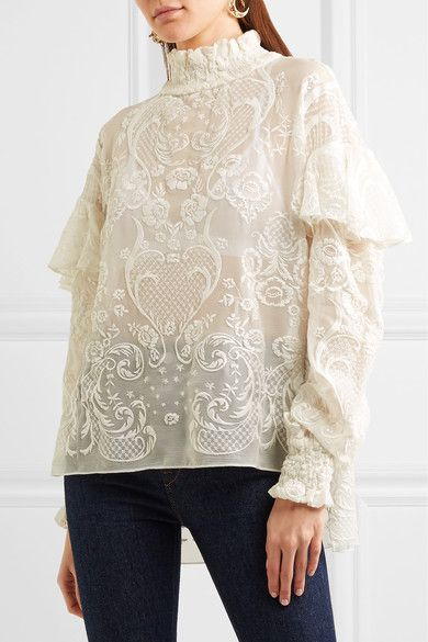 Cream silk-voile Button fastenings at back  100% silk; embroidery: 100% cotton  Dry clean
