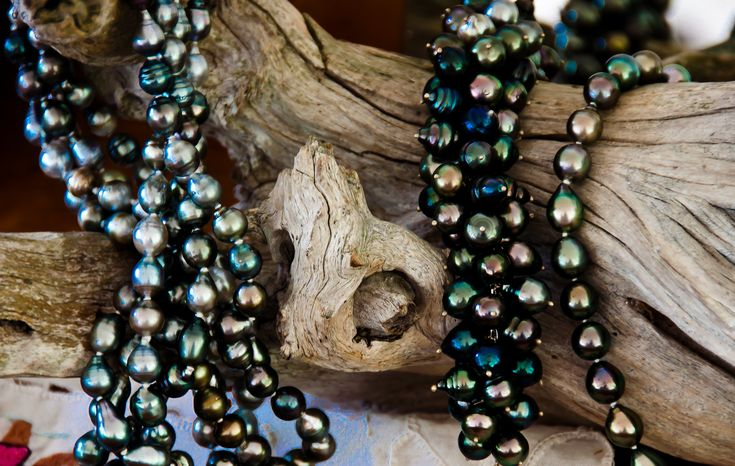 Strands Of Tahitian Black Pearls At A Local Pearl Farm On