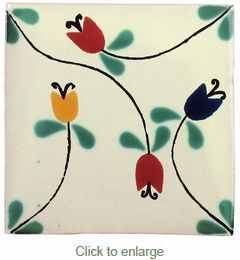 Vines & Tulips Talavera Tile - PP2103 - 15 Tiles