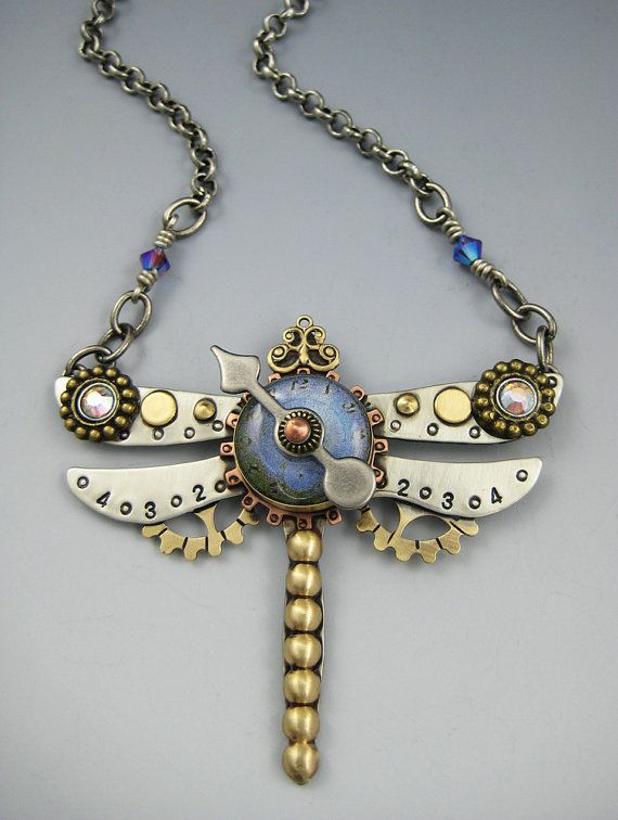 Steampunk Dragonfly Necklace, Dragonfly Jewelry, Dragonfly Necklace  RP0463 on Etsy, $81.00