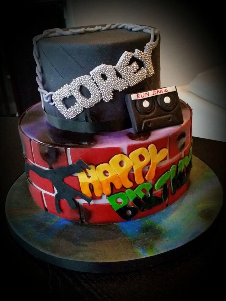 80 S Rap Theme Graffiti Break Dancing Birthday Cake