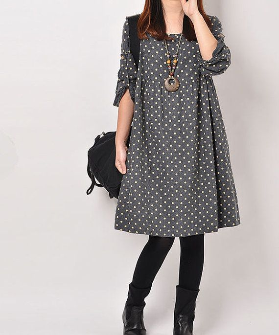 Dark Blue cotton dress Long sleeve dress by originalstyleshop