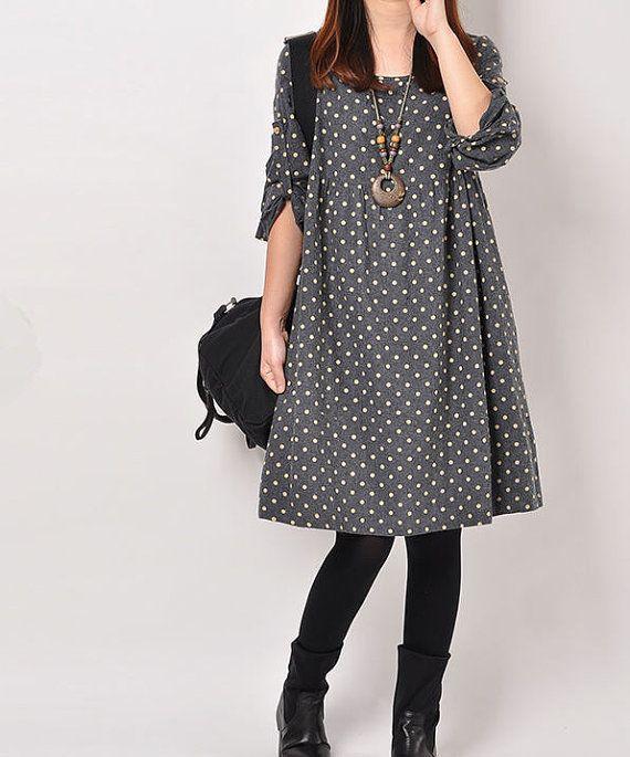 Dark Blue cotton dress Long sleeve dress by originalstyleshop
