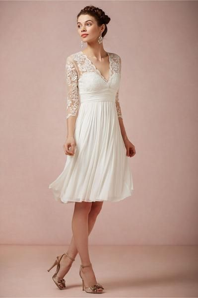 Lace And Chiffon Knee Length Wedding Dress with Full Sleeves and Open Back