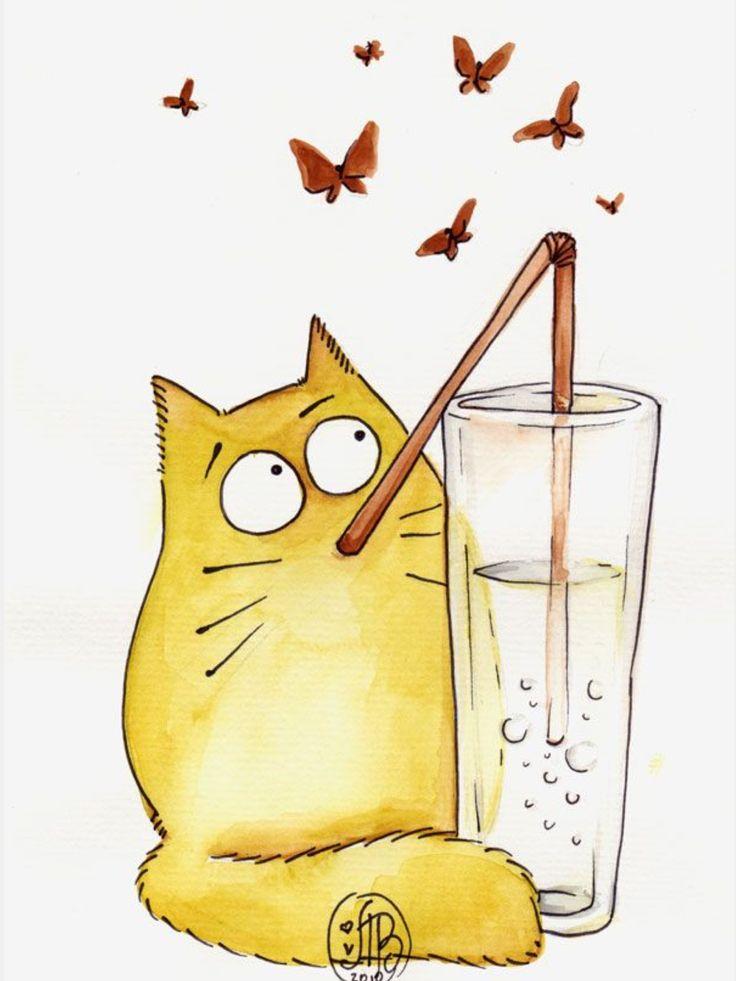 Кошки смешные рисованные картинки, надписями спине