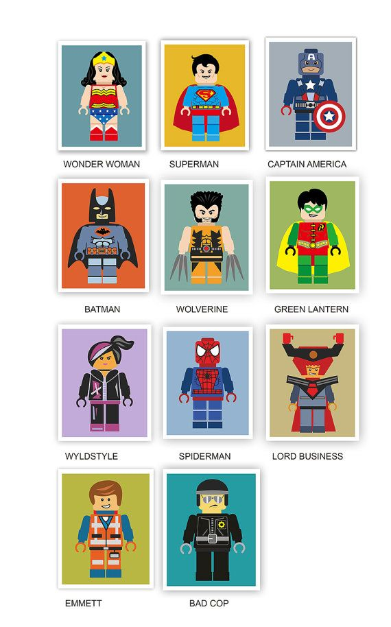 Set of Four Prints Lego Movie Super hero by BestPatternArt