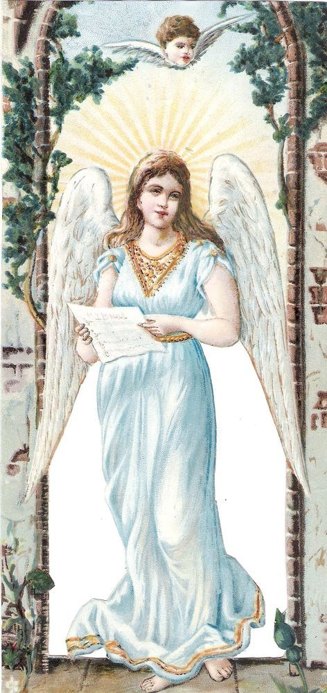 Oblaten Glanzbild scrap die cut chromo Engel XL 24,5cm  angel ange cherub LITHO