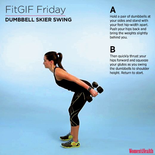 The One Move You Need for a Strong Booty and Ripped Abs http://www.womenshealthmag.com/fitness/fitgif-friday-dumbbell-skier-swing?cid=synd_popsugarfitness_0215