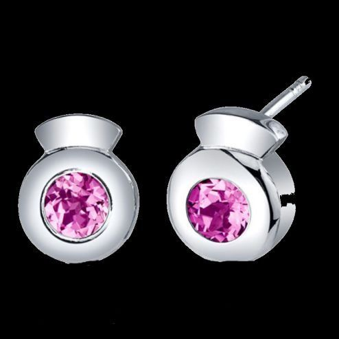 Pink Sapphire Round Cut Button Sterling Silver Earrings
