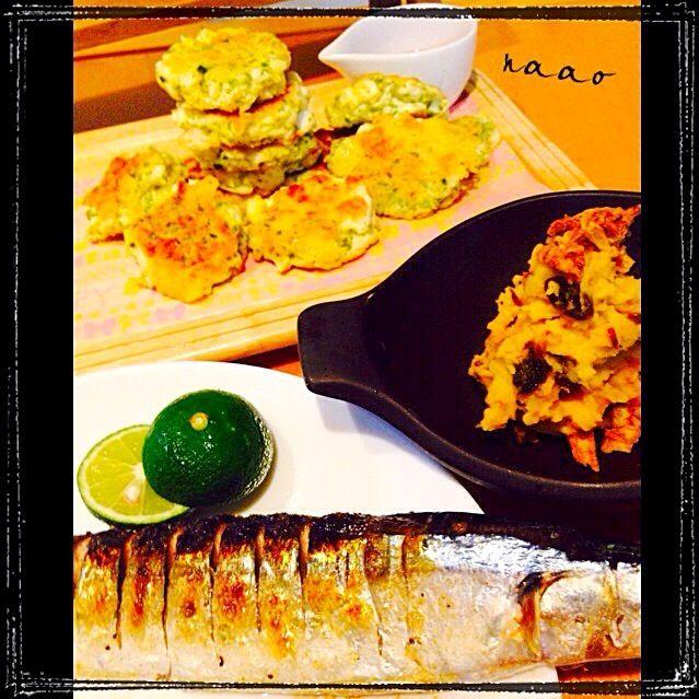 ♥️今年初の秋刀魚塩焼きです!我が家はみんな魚大好きなので、一人一尾ペロリと食べます。 かぼちゃのサラダはレーズンが良く合います。レシピ載せました♥️ 写真にはのせてないですが、高野豆腐の卵とじもたべました!あーお腹いっぱい - 104件のもぐもぐ - ❤️初秋刀魚塩焼き❤️かぼちゃサラダ♥️はんぺんバーグetc… by naohayuka224