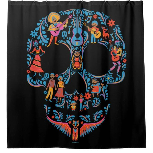 Create Your Own Shower Curtain Zazzle Com Sugar Skull Shower
