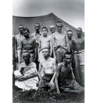 Españoles republicanos en el campo de Mauthausen (1940).