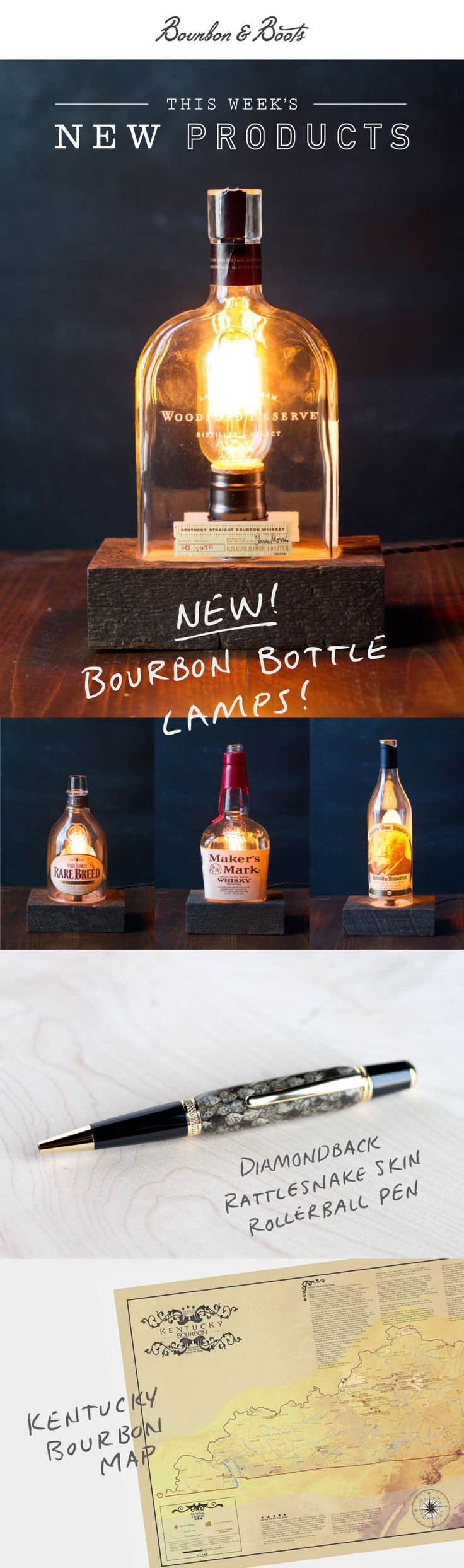 Check out these cool products that we launched this week. New Bourbon Bottle Lamps in 4 Brands, Rattlesnake Writing Pen, Kentucky Bourbon Trail Map and MORE.