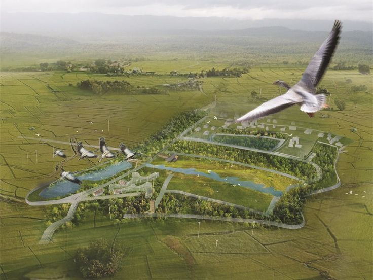 """Population growth and urban sprawl have encroached upon flat terrain, leaving birds and other animals without habitat. The """"Bird Sanctuary"""" is designed to serve local communities and bird populations by reclaiming and reusing existing structures."""