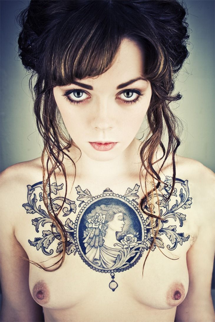 Black ink tattoos for girls - Find This Pin And More On Chest Tattoo