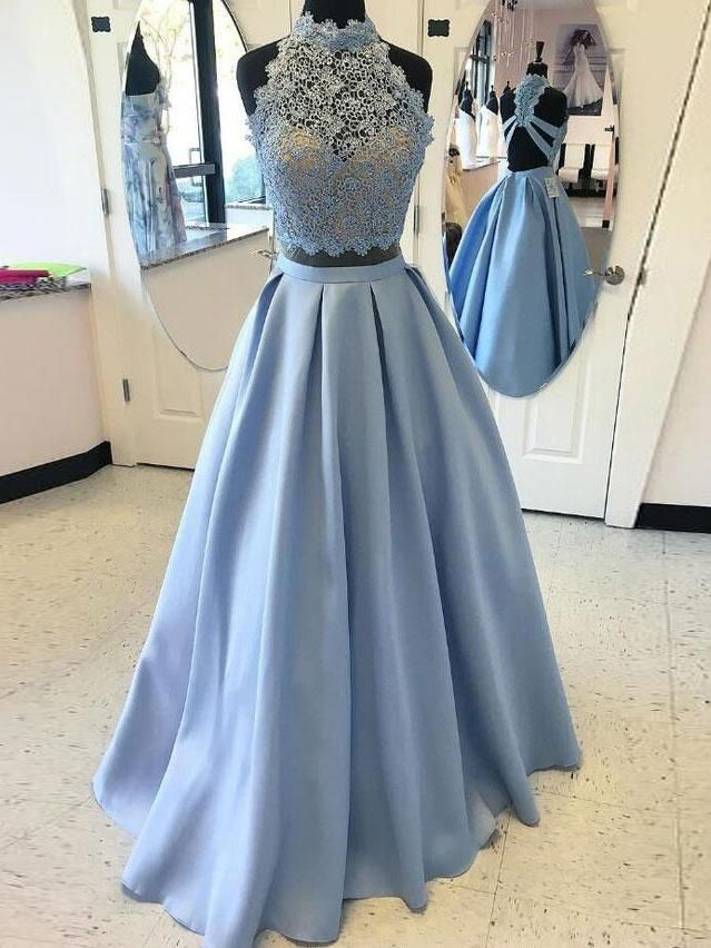 0760a303e03 A-line Halter Lace Top Satin Two Piece Long Prom Dresses APD2102 - SheerGirl