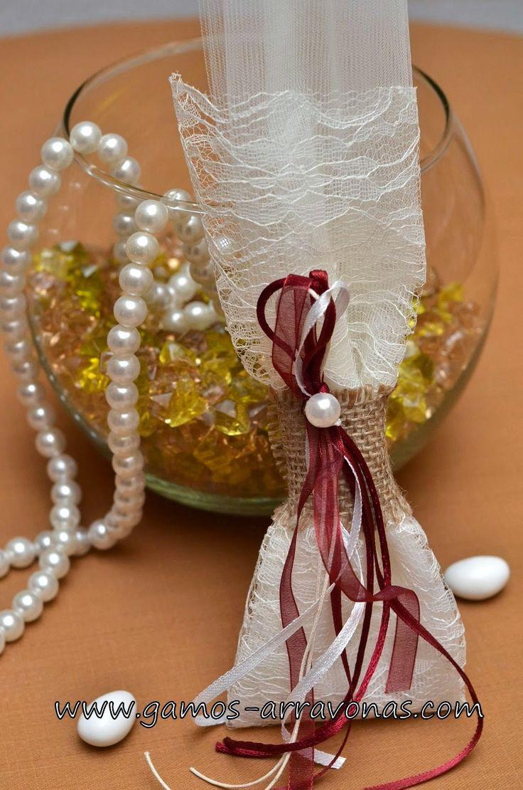 χειροποίητη κλασική μπομπονιέρα γάμου, σε vintage ύφος