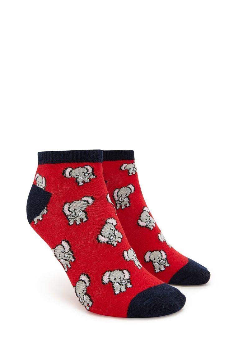 A pair of knit ankle socks featuring an elephant print, a contrast heel and toe, and a ribbed trim.