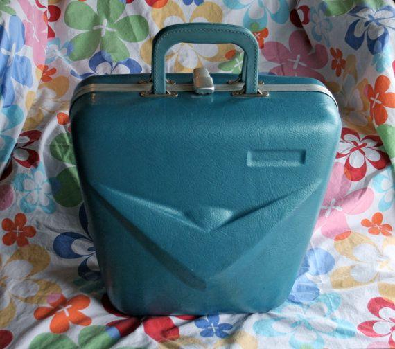 Vintage Mid Century modern aqua blue bowling ball case suitcase luggage retro mad men decor DIY speaker craft  available on etsy $49.99 project