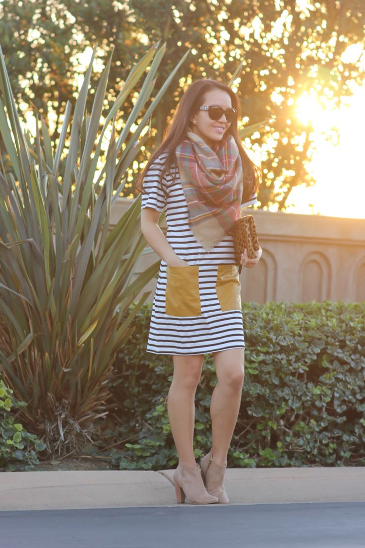 Striped tee dress w/ faux leather pockets and plaid blanket scarf // Click the following link to see outfit details and photos: http://www.stylishpetite.com/2015/01/striped-tee-dress-and-plaid-blanket.html