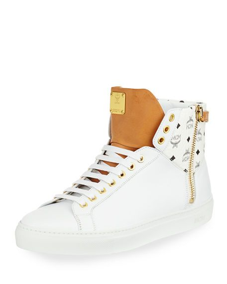 MCM Collection Leather High-Top Sneaker, White. #mcm #shoes #