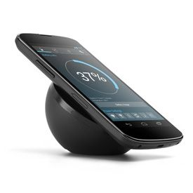 Social Technology - Nexus 4 Wireless Charger with angled surface for easy visibility of your phone while charging. This elegant device was designed specifically for Nexus 4 and is availalble now from Google Play - Chloe Albanesius   PC Mag