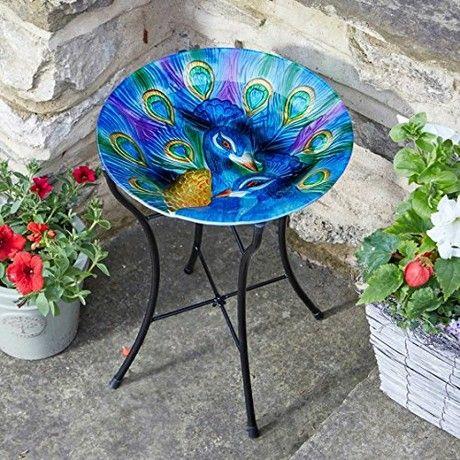 Beautiful Hummingbird Design Hand Painted Glass Birdbath on stand