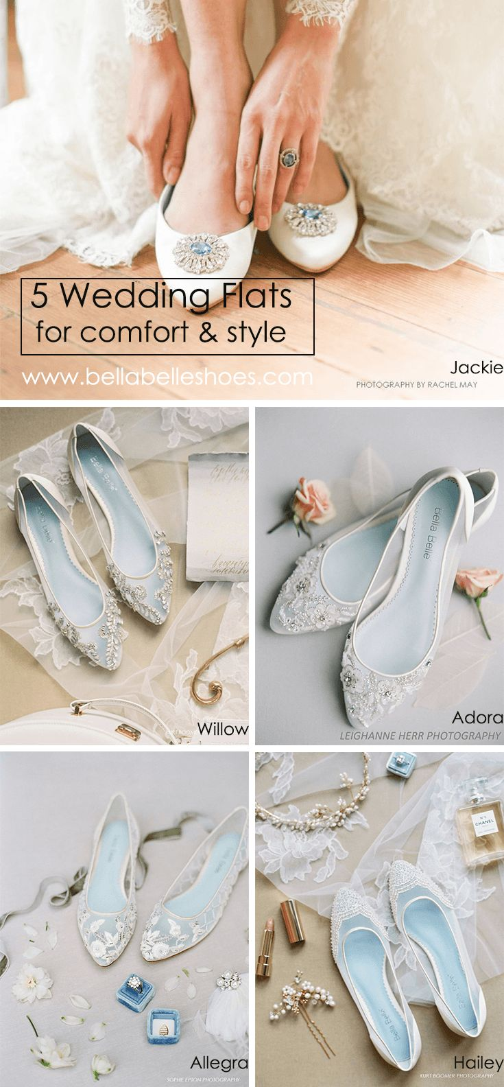 For brides who seek comfort without sacrificing style, Bella Belle Wedding Flats are demure with beaded crystals and jewels, floral patterns, lace and has something blue soles. With vintage, romantic, feminine, rustic, glamorous and classic styles, find your perfect wedding shoe in any style for the big day.  Photography by Rachel May, Kurt Boomer, Leighanne Herr and Sophie Epton.