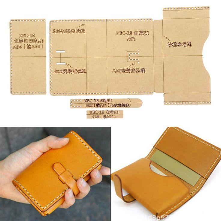DIY Leather-based Handmade Craft girls card Holder pockets Purse Storage Stitching Sample…