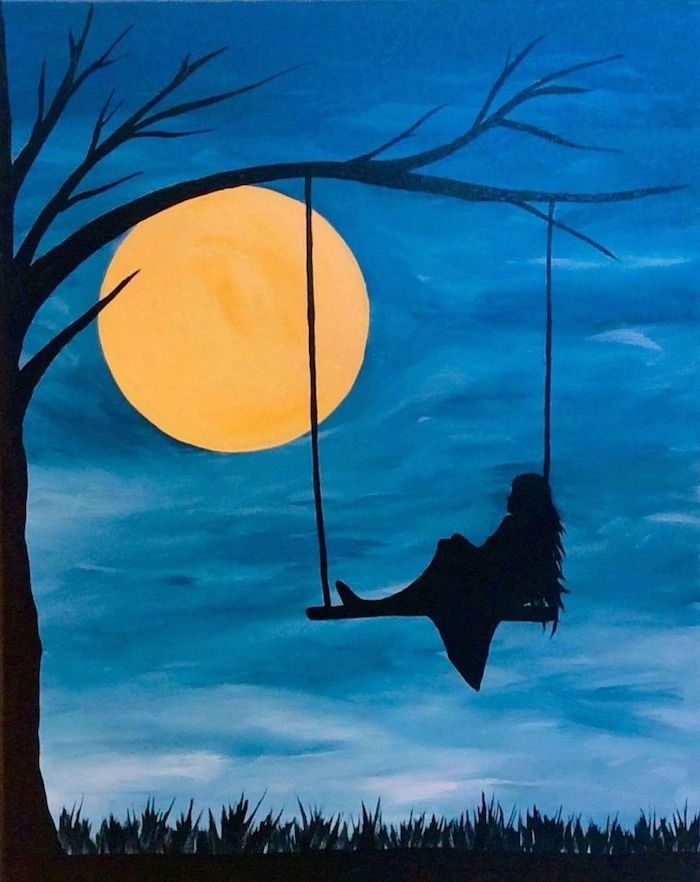 Woman Swinging On A Swing At Dusk Canvas Painting Ideas Large Moon In The Background Dark Blue Sky Tree Simple Canvas Paintings Painting Canvas Painting Images