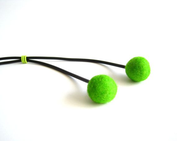 bright green and black minimalist necklace felt by frankideas, $18.00