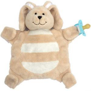 Sleepytot's award winning baby comforters have little velcro paws which can hold onto dummies, soothers or teethers. LOVE!