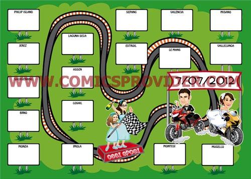 Tableau de Mariage ispirarato alle gare motociclistiche!