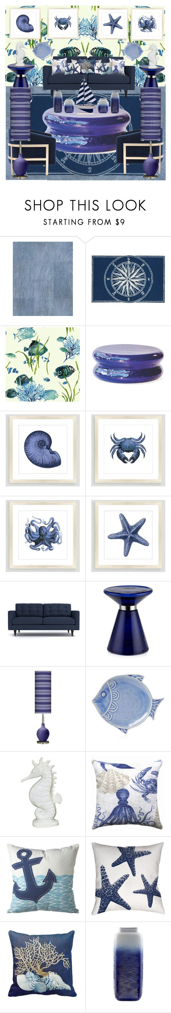 """""""Nautical decor"""" by gothbear13 ❤ liked on Polyvore featuring interior, interiors, interior design, home, home decor, interior decorating, Seasonal Living, Safavieh, Cost Plus World Market and Juliska"""