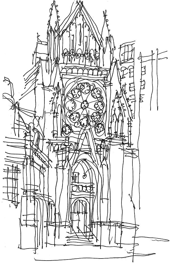 Architect Sketches-donald henke quick church ink sketch
