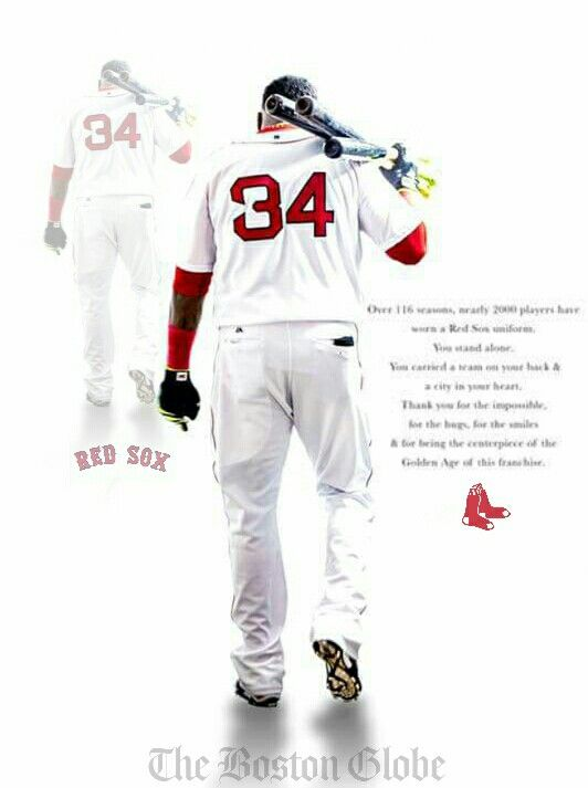 "The Globe posted an ad for Big Papi and I tweaked it a bit. The ad reads: ""Over 116 seasons, nearly 2000 players have worn a Red Sox uniform. You stand alone. You carried a team on your back and a city in your heart. Thank you for the impossible, for the hugs, for the smiles and for being the centerpiece of the Golden Age of this franchise."" ⚾⚾⚾⚾⚾⚾"
