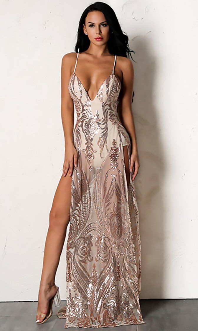 d53af305 Forget About Me Rose Gold Sheer Mesh Sequin Swirl Pattern Sleeveless Spaghetti  Strap Plunge V Double Slit Maxi Dress