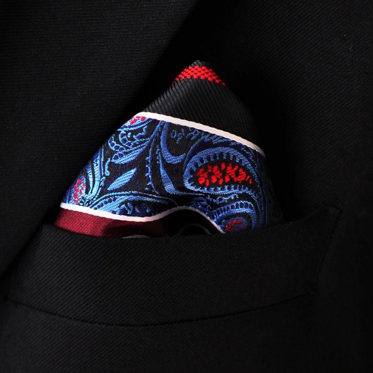 Платок полосы пейсли многоцветный черный синий карманный площадь мужские галстуки шелк жаккард тканый платки