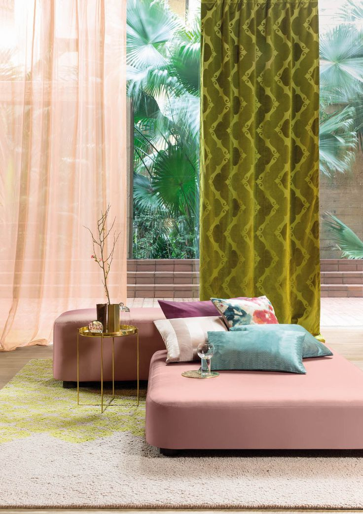 FR-One Hotel Jardin collection. Collections — sheer design: Volare, jacquard velvet: Velluti, pouf: Whaoo, cushions: Vanity, Vanguard and Vivabella