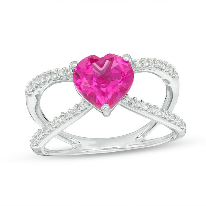 Zales 8.0mm Heart-Shaped Lab-Created Ruby and White Sapphire Frame Ring in Sterling Silver 3ntBMJ7