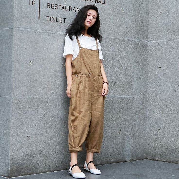 Womens Loose Linen Bib Pants Cropped Overalls Work Suspender Trousers Pure Color