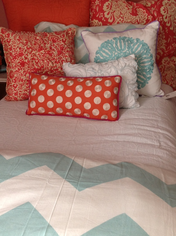 Cute Pillows For Dorm Rooms : coral and mint dorm bedding Dorm Decor Pinterest Urban outfitters, Color combos and Colors