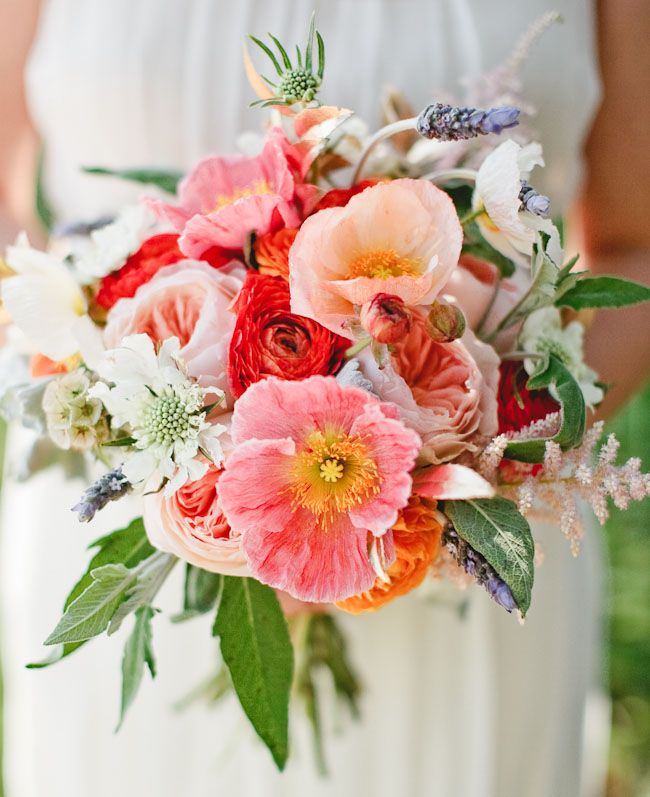 Bright pink and red poppy bouquet