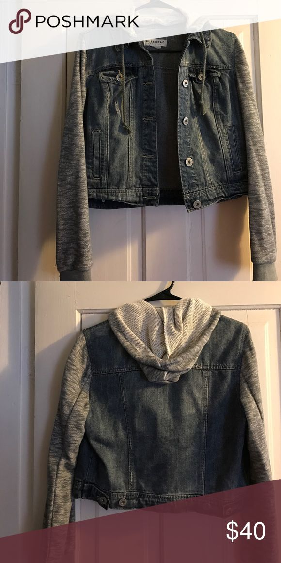 NWOT hooded jean jacket This has never been worn! Perfect condition. Gray hood and sleeves. Buttons in back to adjust waist size. 4 pockets in front. I am open to offers and price negotiation :) Bullhead Jackets & Coats Jean Jackets
