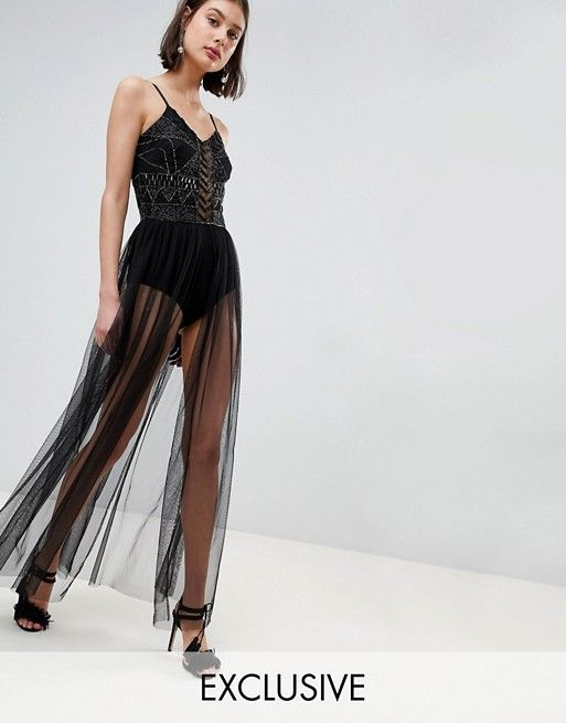 789d3b2ae1 Lace   Beads Embellished Bodysuit With Sheer Skirt in 2019