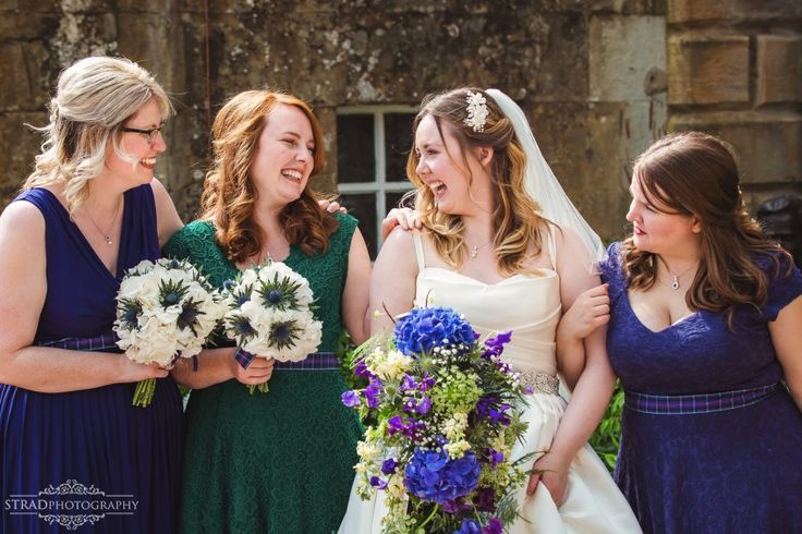 bride and bridesmaids laughing, wedding, scotland