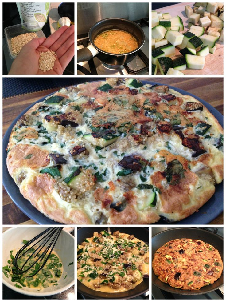 Lunch: Quinoa frittata met courgette, aubergine en parmezaan