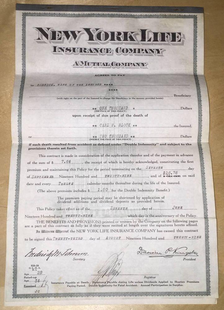 New York Life Insurance Company 1929 Policy Original ...