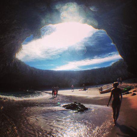 Hidden beach beneath natural skylight, Isla Marieatas, Puerto Vallarta, Mexico